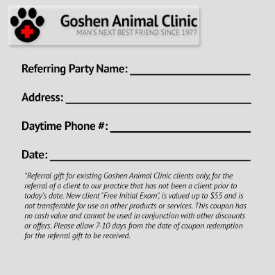Goshen Animal Clinic Referral Program